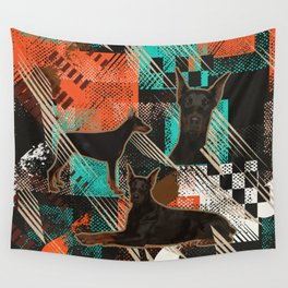 Dobermann - Doberman Pinscher Abstract Wall Tapestry