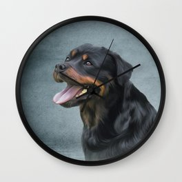 Rottweiler dog Wall Clock