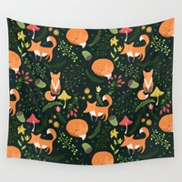 allyson johnson Wall Tapestries featuring Foxes by Julia Badeeva
