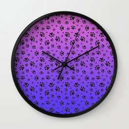 Paw Prints Pink Purple Blue Gradient Wall Clock