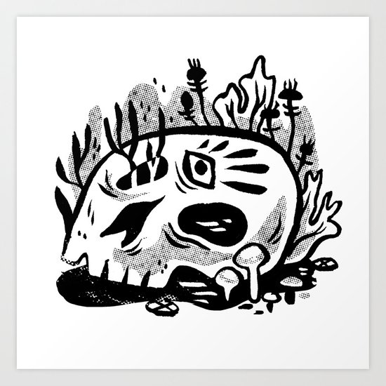 Skull Planter Art Print