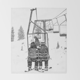 Snow Lift // Ski Chair Lift Colorado Mountains Black and White Snowboarding Vibes Photography Throw Blanket