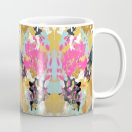 Laurel - Abstract painting in a free style with bold colors gold, navy, pink, blush, white, turquois Coffee Mug