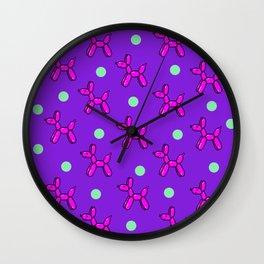Balloon Dog Delight! Pink, Purple & Green Wall Clock