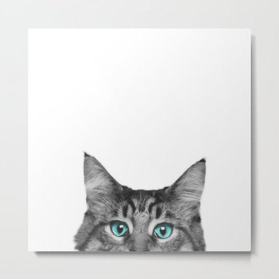 Cat Peeking Metal Print