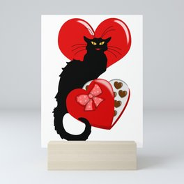 Le Chat Noir with Chocolate Candy Gift Mini Art Print
