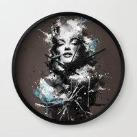 marilyn Wall Clocks featuring Marilyn. by Emiliano Morciano (Ateyo)