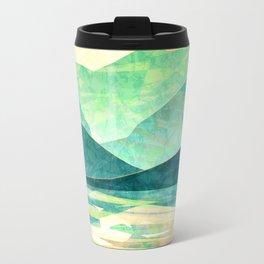 Spring Sunset over Emerald Mountain Landscape Painting Travel Mug