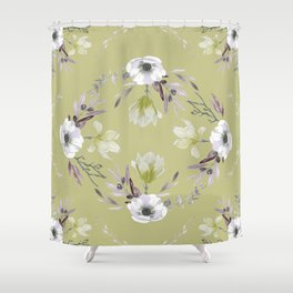 Floral Square Yellow Shower Curtain
