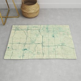 Salt Lake City Map Blue Vintage Rug