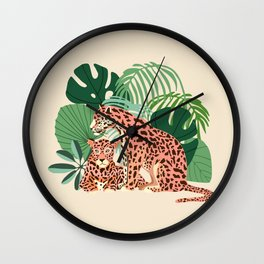 Blush Jaguars #illustration #wildlife Wall Clock
