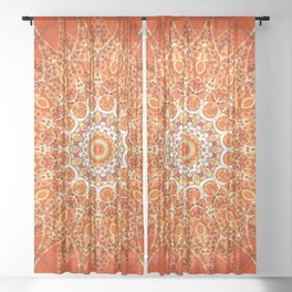 Detailed Orange Boho Mandala Sheer Curtain