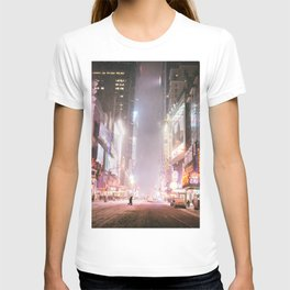 New York City Colorful Snowy Night in Times Square T-shirt