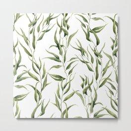 Watercolor green ornament with eucalyptus Metal Print