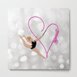 Pink Heart Gymnast Text Metal Print