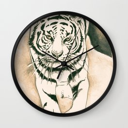 White Tiger Sepia Litograph Style Wall Clock