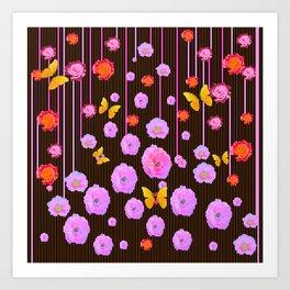 YELLOW BUTTERFLIES AMONG  FLOATING PINK  ROSES Art Print