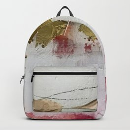 Untranslated Stars: a minimal, abstract piece in gold, pink, and white by Alyssa Hamilton Art Backpack