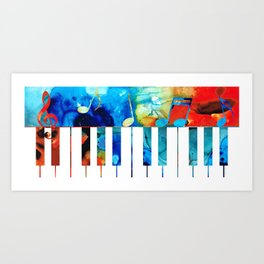 Colorful Piano Art by Sharon Cummings Art Print
