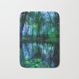 Enchanted Forest Lake Green Blue Bath Mat