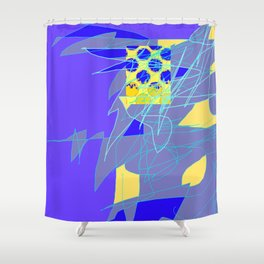 Yellow Square Hatchling  Blue-purple  Abstract Shower Curtain