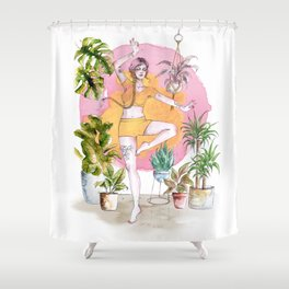 Yoga and Plants Shower Curtain