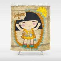 bonjour Shower Curtains featuring Bonjour by maru y su cabeza