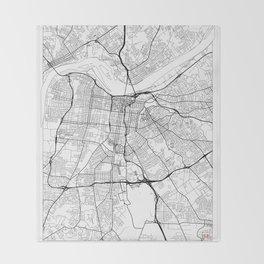 Louisville Map White Throw Blanket