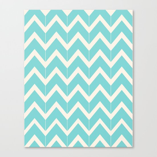 Aqua & Ivory Chevrons Canvas Print