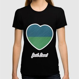 Abstract blue, green art - a simple striped pattern T-shirt