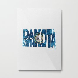 South Dakota Typographic Flag Map Art Metal Print