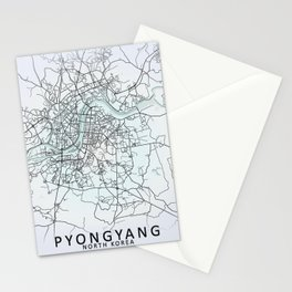Pyongyang, North Korea, White, City, Map Stationery Cards