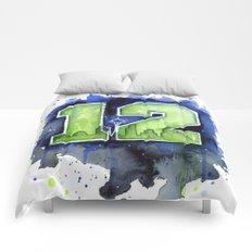 12th Man Seahawks Seattle Go Hawks Art Comforters
