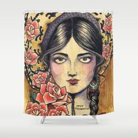 fitzgerald Shower Curtains featuring Sombrero Girl by Cathy FitzGerald