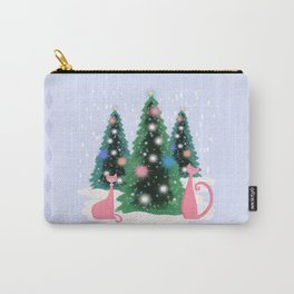Pink And Perfect Kitty Cats In The Sparkling Snow Carry-All Pouch