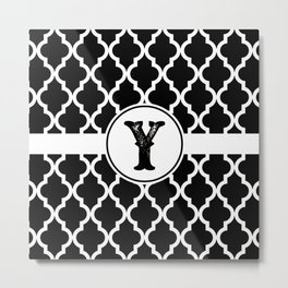 Black Monogram: Letter Y Metal Print