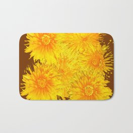 ABSTRACTED COFFEE BROWN   FIRST SPRING YELLOW DANDELIONS Bath Mat