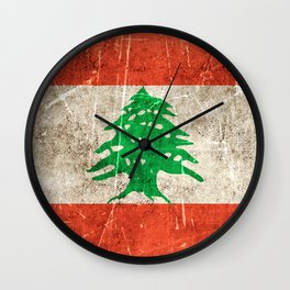 Vintage Aged and Scratched Lebanese Flag Wall Clock