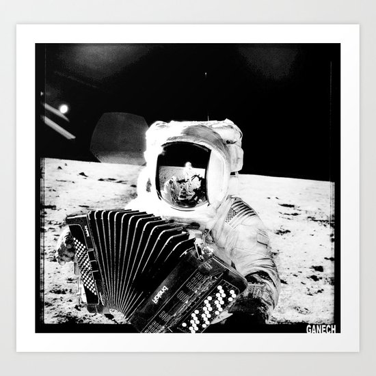 ACCORDION ON THE MOON  Art Print