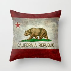 Californian state flag, the Bear flag in retro grunge Throw Pillow