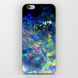 Galaxy space opal iridescent holographic druse crystal quartz agate gemstone geode mineral photo iPhone Skin
