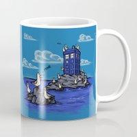 hallion Mugs featuring The Seagulls have the Phonebox by Karen Hallion Illustrations