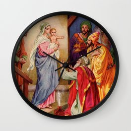 Holy Family The Visit of the Wise Men Nativity Scene Picture Canvas Wall Clock