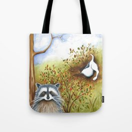 Silly Dog  Jack Russell Terrier, Raccoon, Landscape Painting, Original Art Tote Bag