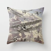 airplanes Throw Pillows featuring airplanes 2 by Кaterina Кalinich