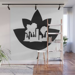 Pollution through Negative Space in Leaf Wall Mural