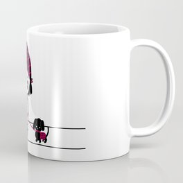 Chibi Girl and Dog in Red and Black Coffee Mug