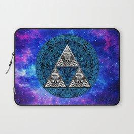 Triforce Circle With Blue Nebula Laptop Sleeve