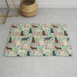 Labrador Retriever dog breed floral pattern for dog lover chocolate lab golden retriever labradors Rug