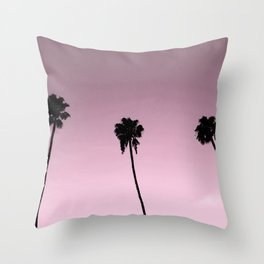 pink skies and palm trees Throw Pillow
